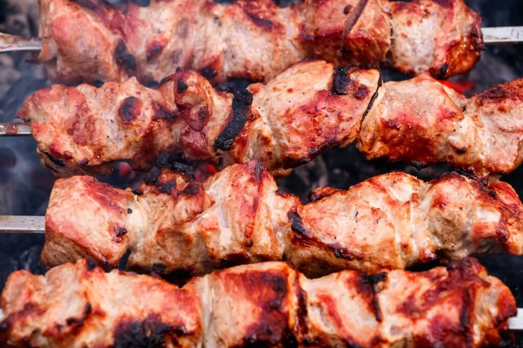 Shish Kebab am Blackworker Wall of Fire Grill